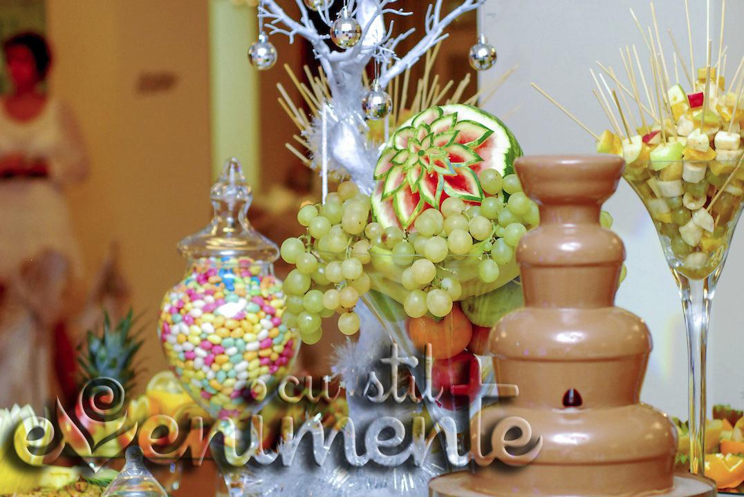 Bufet de fructe cu fantana de ciocolata